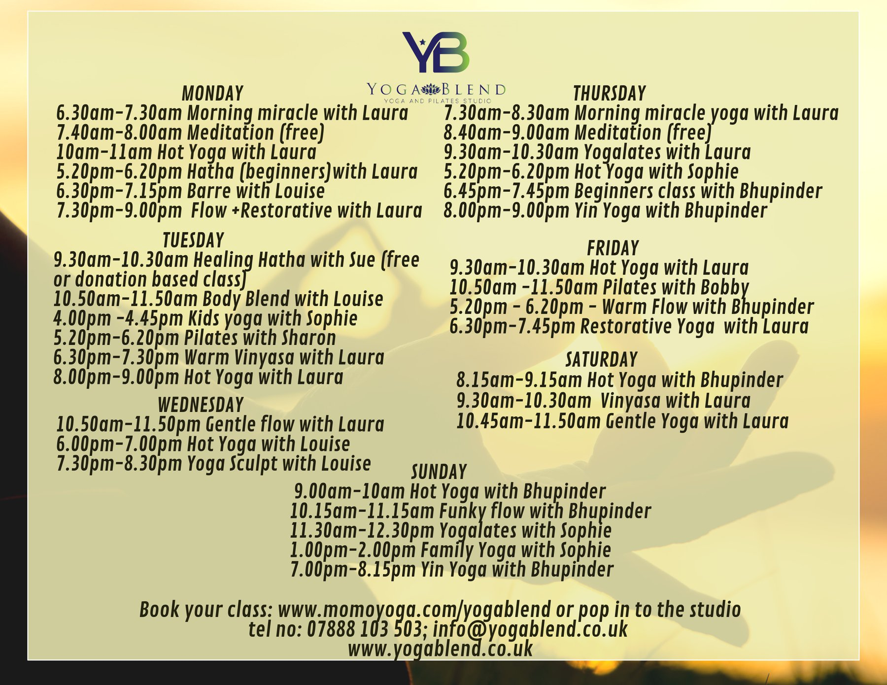 ****Our new timetable***